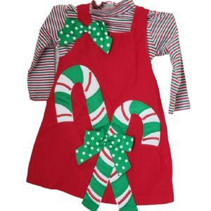 Bonnie Jean Candy Cane Christmas Jumper/Top 2T